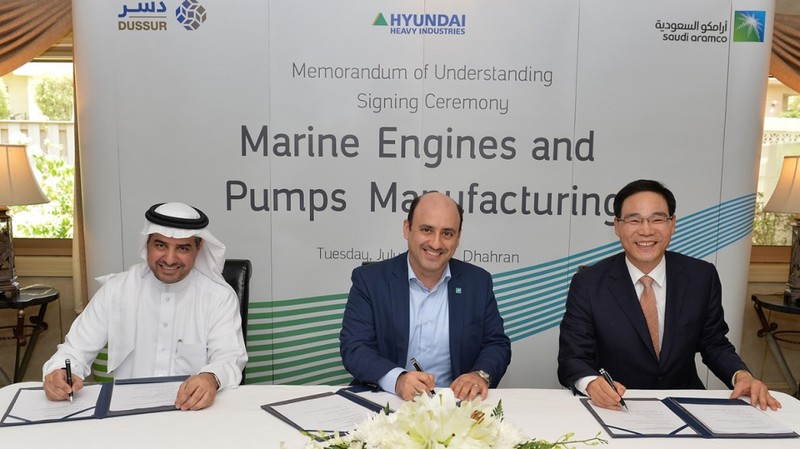 Saudi Aramco, Dussur, and HHI ink MOU for engine manufacturing and