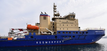 Icebreaker Novorossiysk escorts Silver Explorer along the
